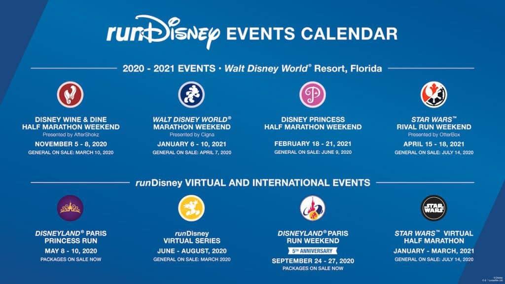 2020-2021 rundisney race calendar