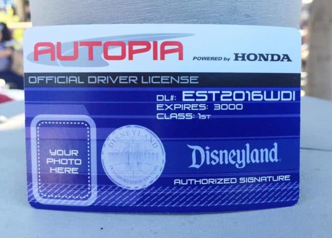 autopia drivers licence card