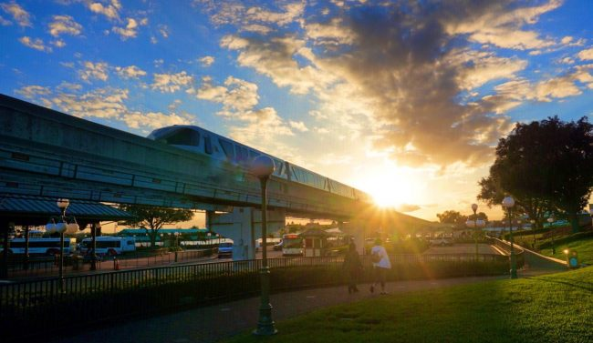 Disney World Monorail at sunset