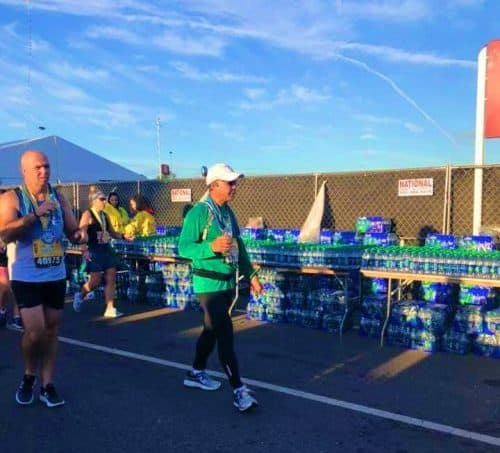 water station at finish of runDisney race
