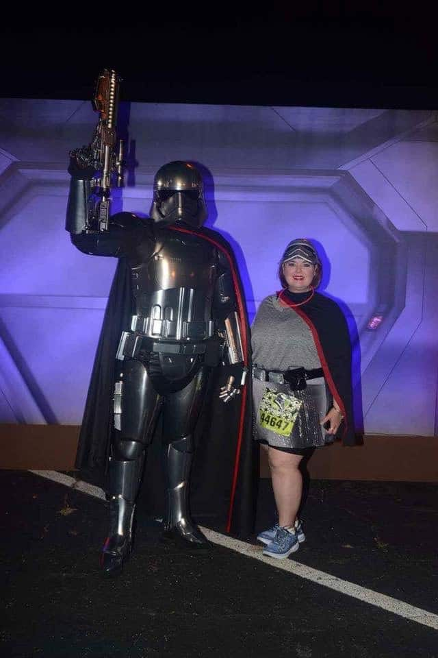 runDisney character stops before the Star Wars race include Captain Phasma