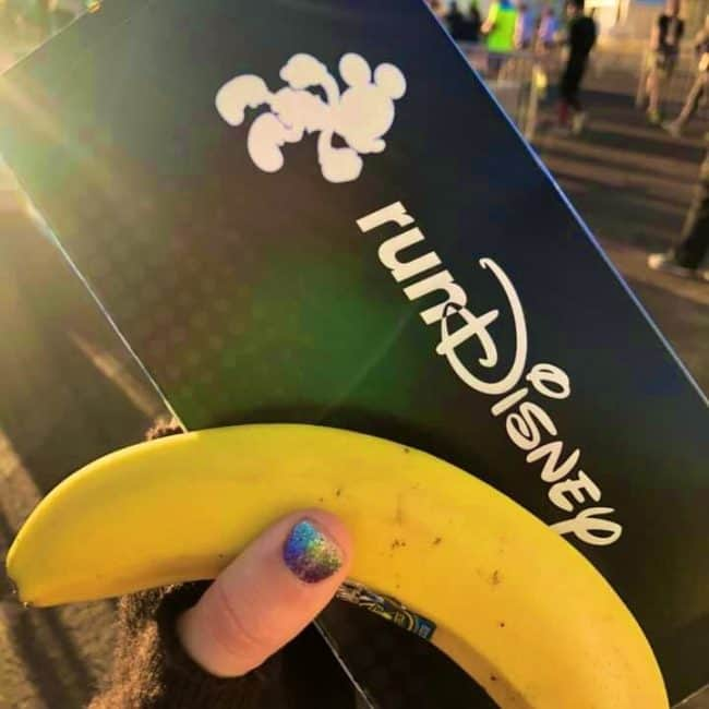 rundisney snack box and banana at the finish line
