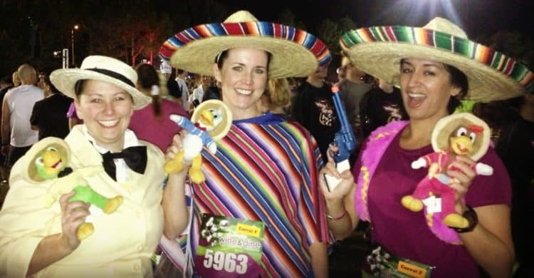 3 Caballeros race costume wine and dine half marathon