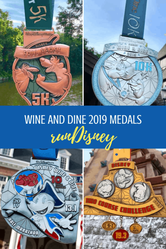runDisney medals for the Wine and Dine Half Marathon Weekend at Walt Disney World.