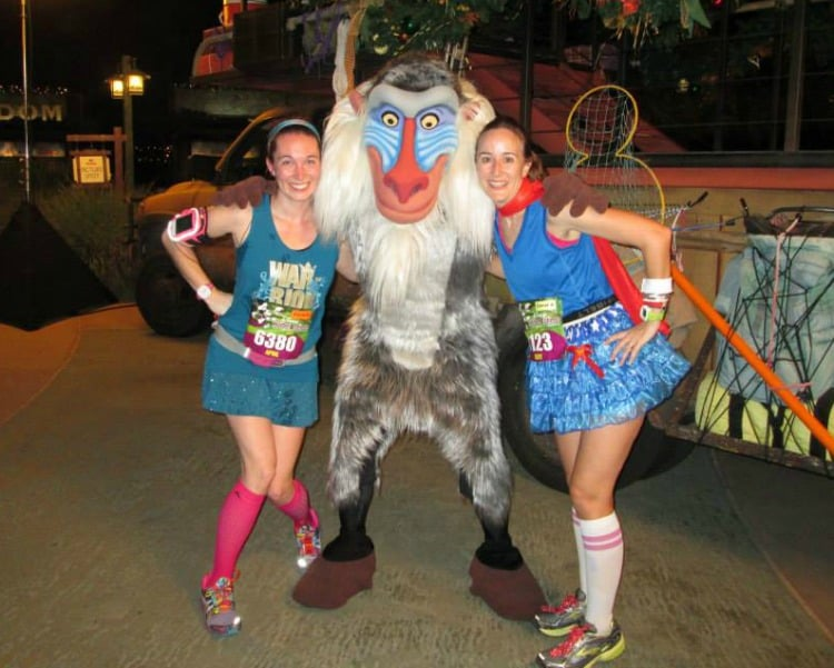 Amy and April with Rafiki at Wine and Dine Half