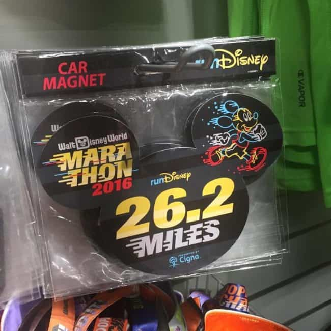 runDisney merchandise outside of the expo can be found at Disney outlets in Orlando like this 26.2 mile magnet