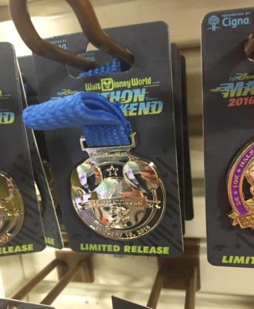 runDisney marathon weekend pin at the Disney outlets