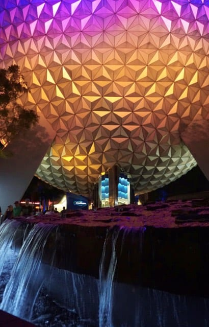 spaceship earth night Epcot
