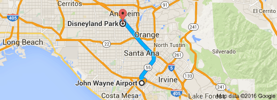 SNA to Disneyland map