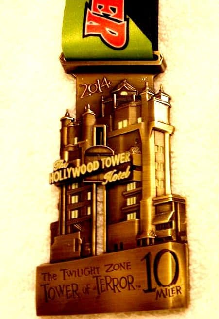Tower of Terror 10 Miler medal