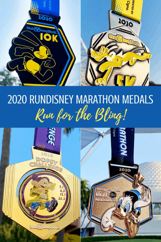2020 runDisney Marathon weekend medals: 5K, 10K, Dopey, Goofy, Half Marathon and Marathon at Walt Disney World.