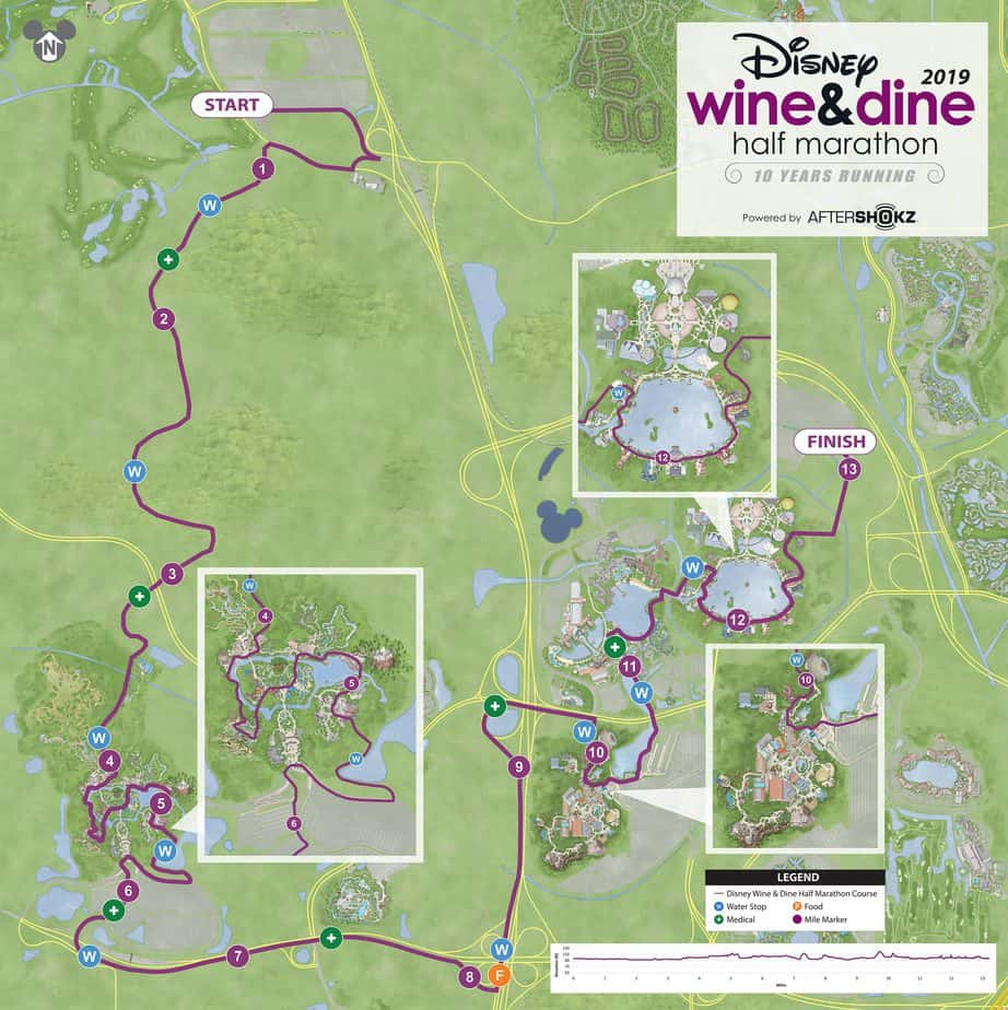 wine dine half marathon course map