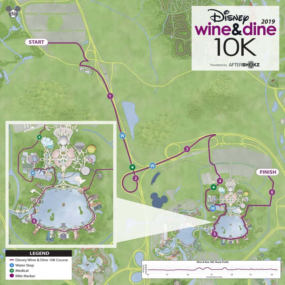 wine dine 10K course map