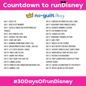Instagram's 30 days to runDisney countdown Princess Half Marathon Edition