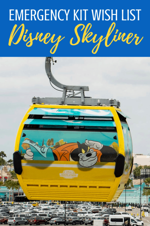 Taking a ride on the Disney Skyliner? Here's whats in the emergency kit and what we think should be in it! #disneyskyliner #disneytips #waltdisneyworld