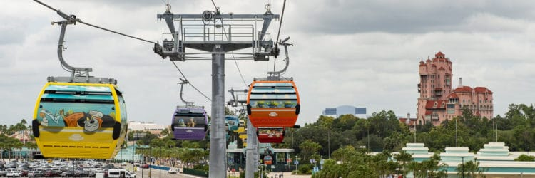 New Disney Skyliner with Tower of Terror in background