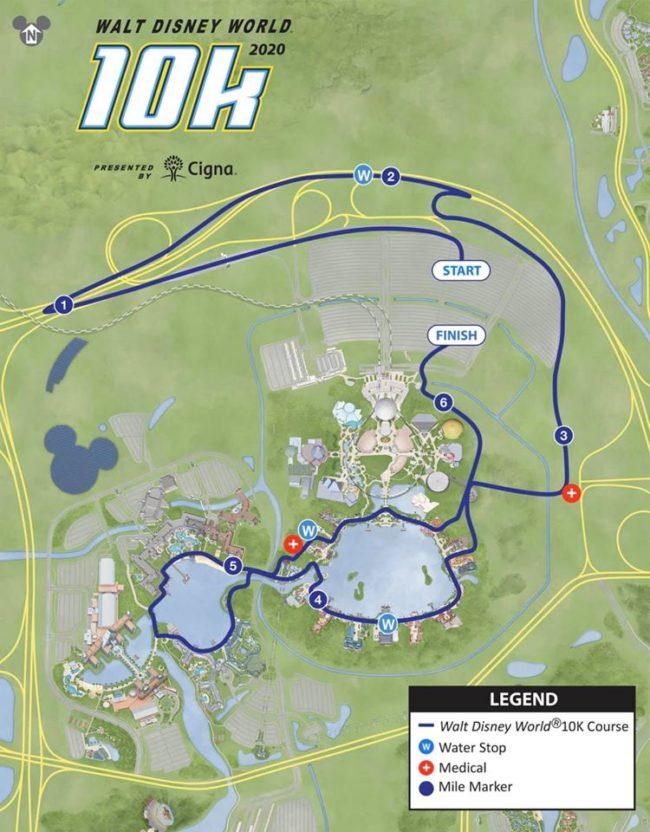 2020 Disney World Marathon Weekend 10K course map