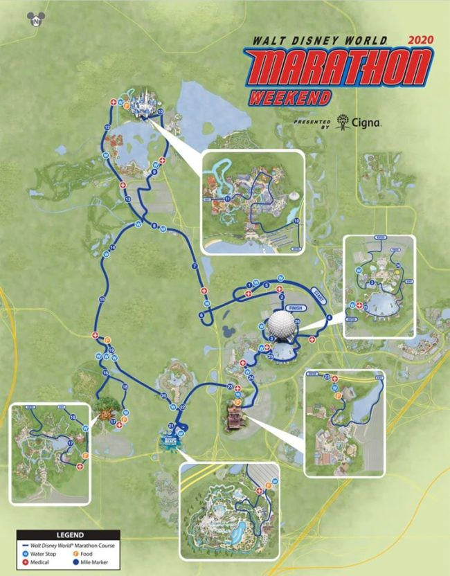 2020 Disney World Marathon Weekend Full Marathon course map