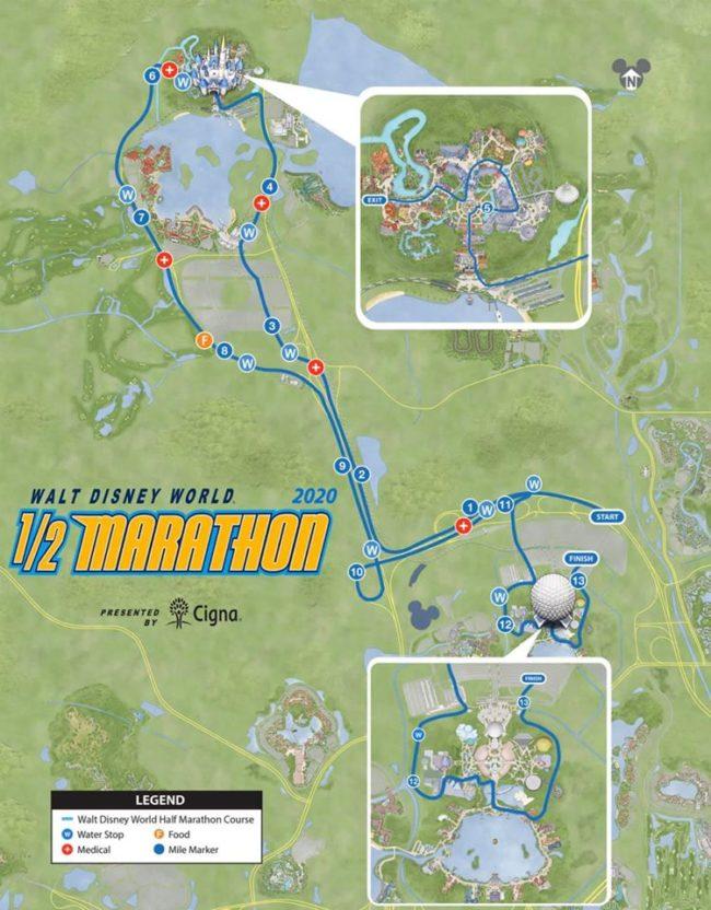 2020 Disney World Marathon Weekend Half Marathon course map