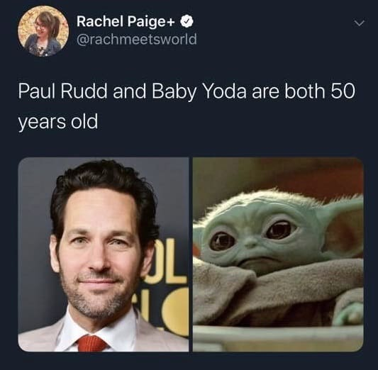baby yoda and paul rudd