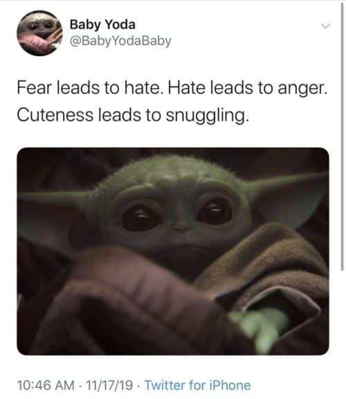 Baby yoda memes snuggles