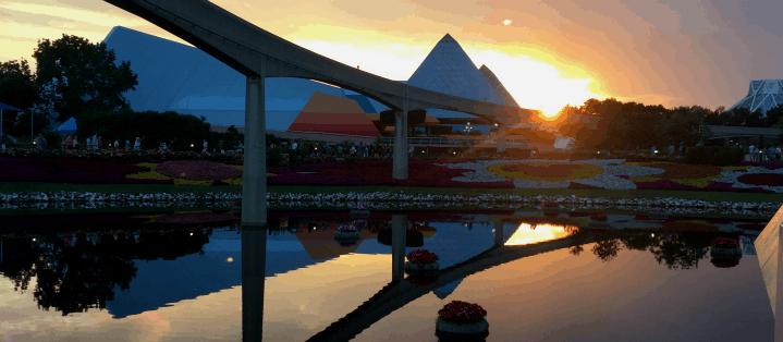 Epcot sunset at walt disney world