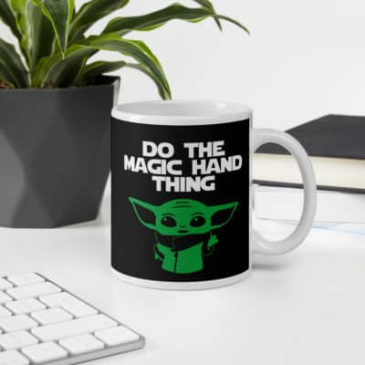 baby yoda mug do the magic hand thing from The Mandalorian
