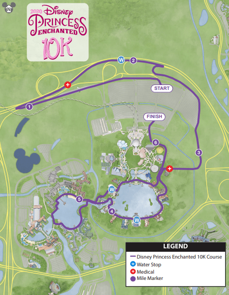 2020 princess enchanted 10K course map