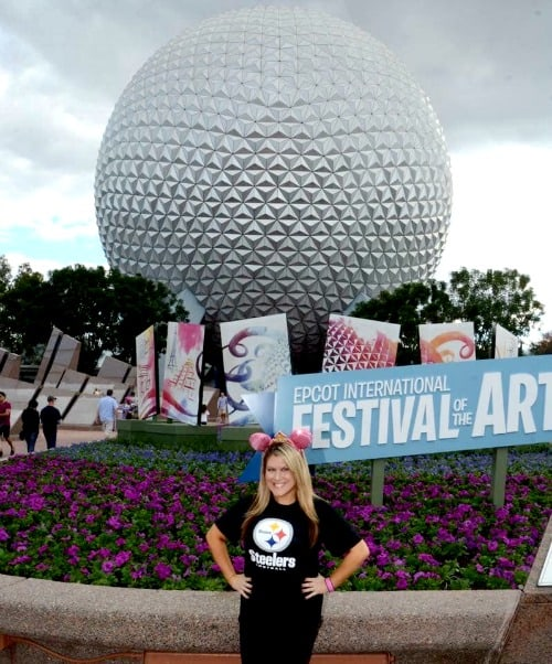 Super Bowl At Disney World: Steelers fan in front of Spaceship Earth