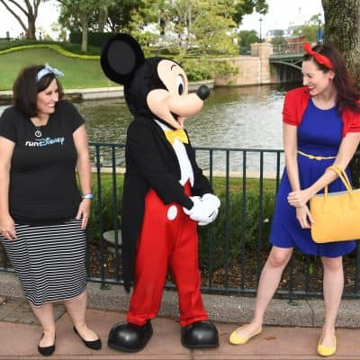 two women meeting Mickey Mouse in Epcot