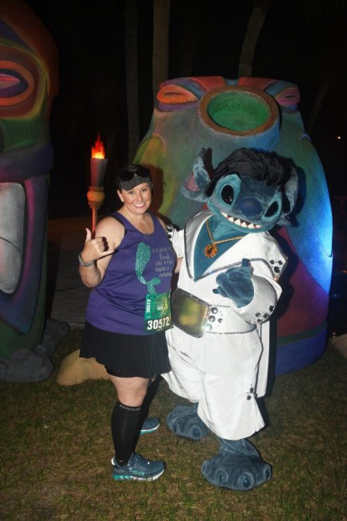 Elvis Stitch on the runDisney race course: Disney Unpopular Opinion is that we dont like the movie