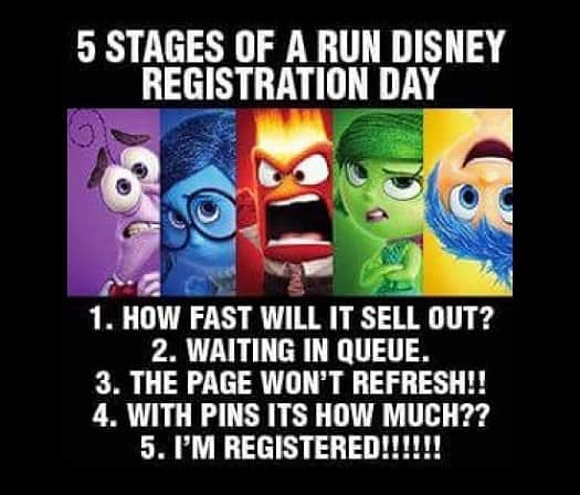 Inside Out stages of runDisney registration memes