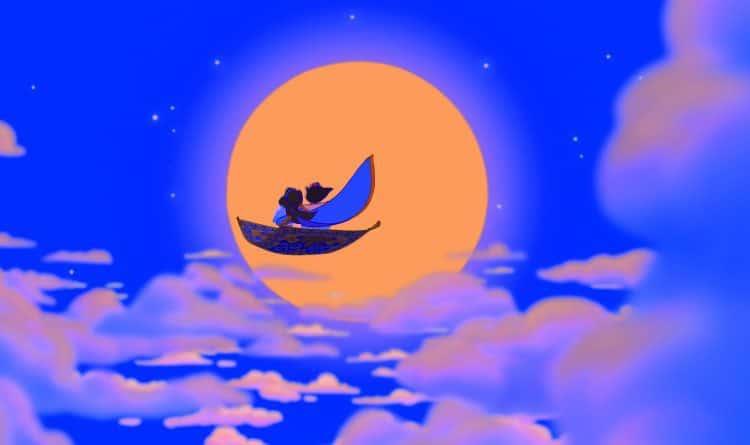 Aladdin and Jasmine flying on carpet a whole new world disney hand washing song
