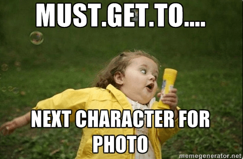 running from character photo to character photo little girl in yellow jacket is a runDisney meme