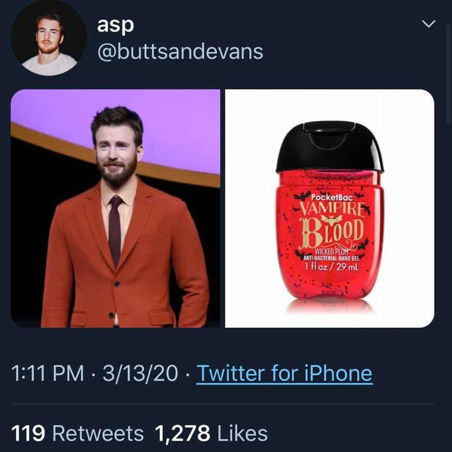 chris evans as hand sanitizer red suit