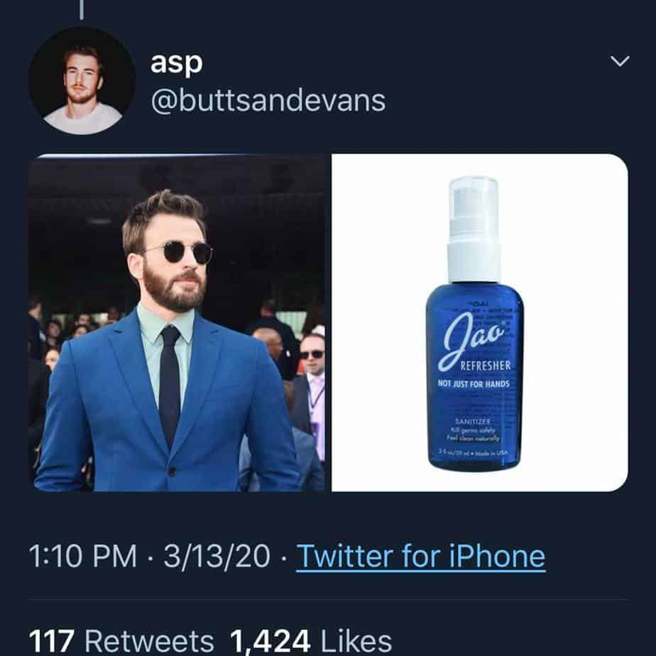 chris evans as sanitizer blue suit