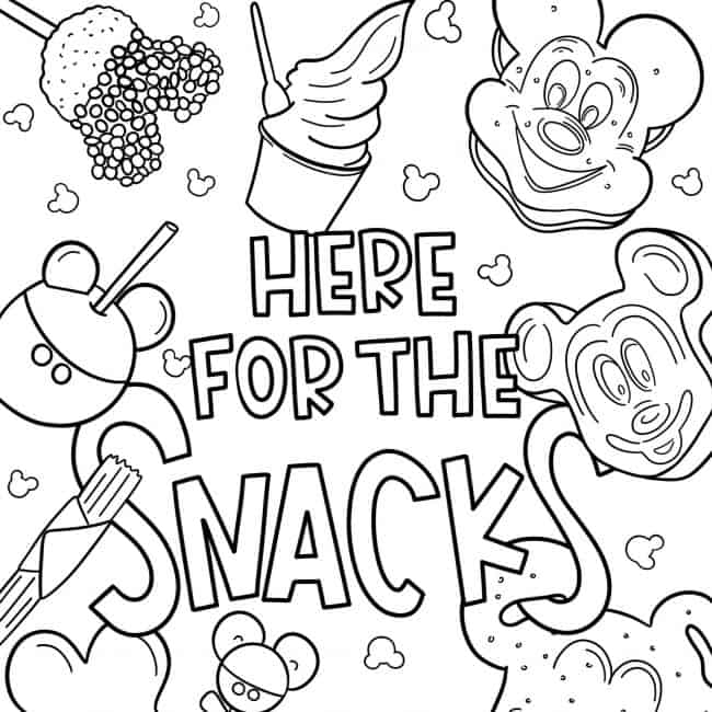 - Disney Coloring Pages We're Here For The Snacks!