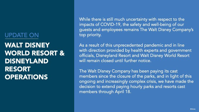 Disney world closed indefinitely