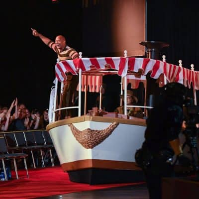 DWAYNE JOHNSON on the jungle cruise boat at D23 Expo