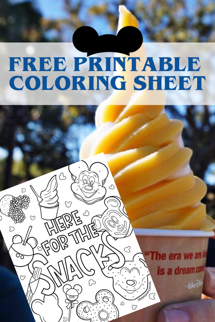 disney snacks free printable coloring sheets
