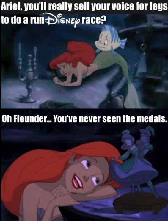 Little Mermaid talking to flounder about runDisney medals meme