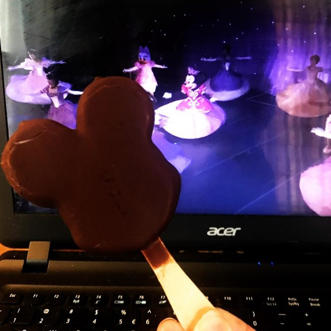 How to have Disney at home with a mickey ice cream bar and disneyland videos