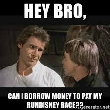 Star Wars rundisney meme with han solo and luke skywalker asking for money