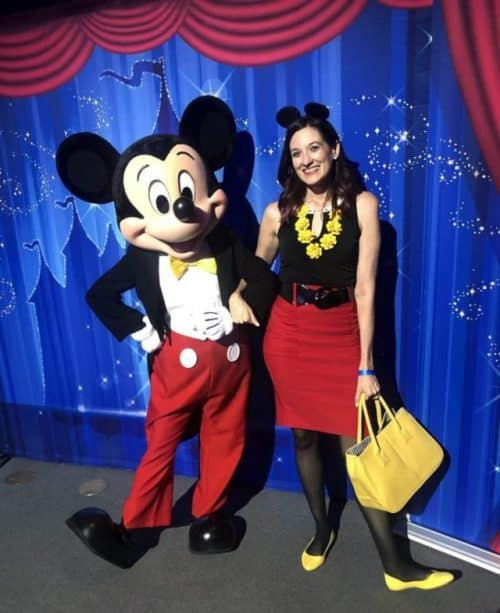 Mickey Mouse and Theresa Mabe from the No-Guilt Disney Podcast and In.Sight.Full.Life