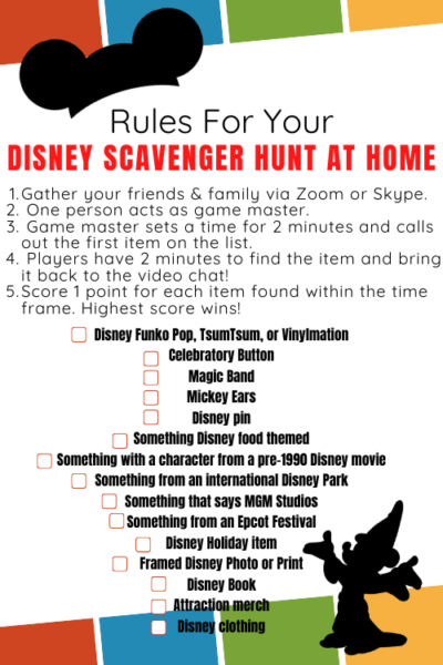 disney scavenger hunt from home zoom family game night