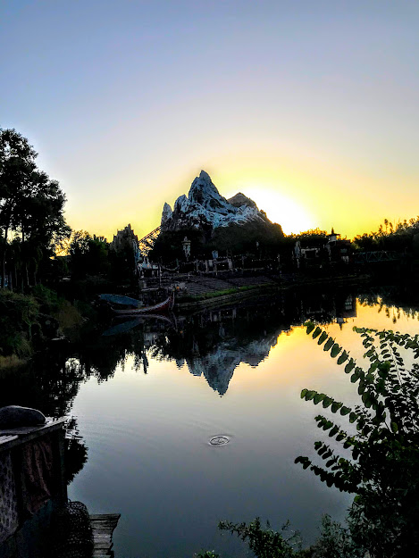Expedition Everest roller coaster at sunrise
