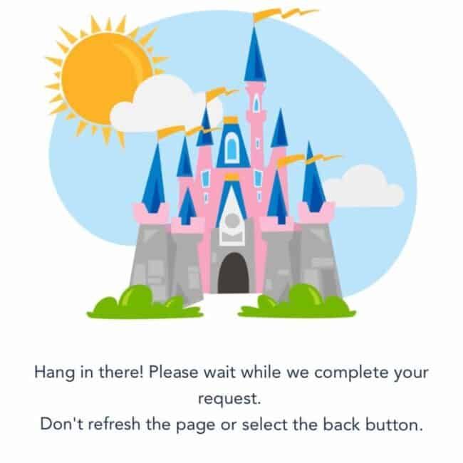 Pink castle disney reservation system