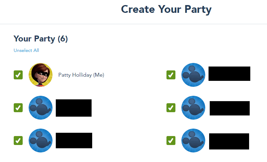 Create Your Party Screen on Disney Parks Pass Reservation system