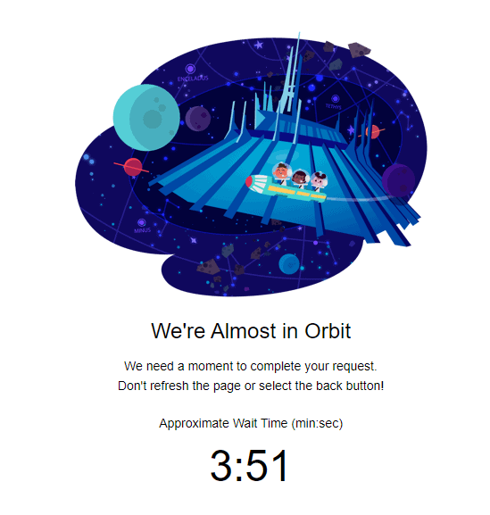 waiting room orbit for disney parks reservation system