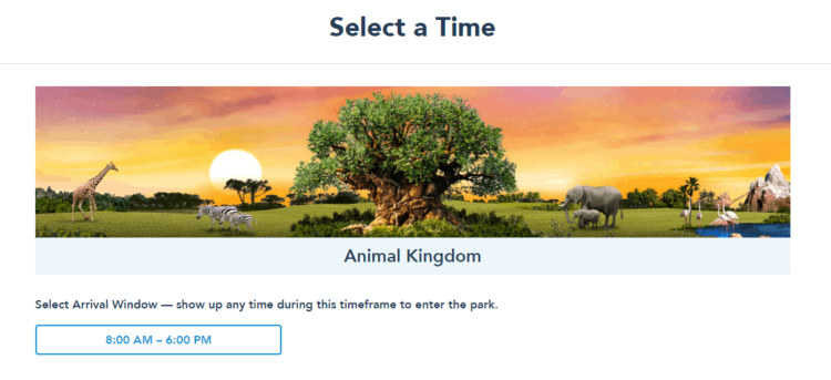 Select a time Disney Parks Pass Reservation system